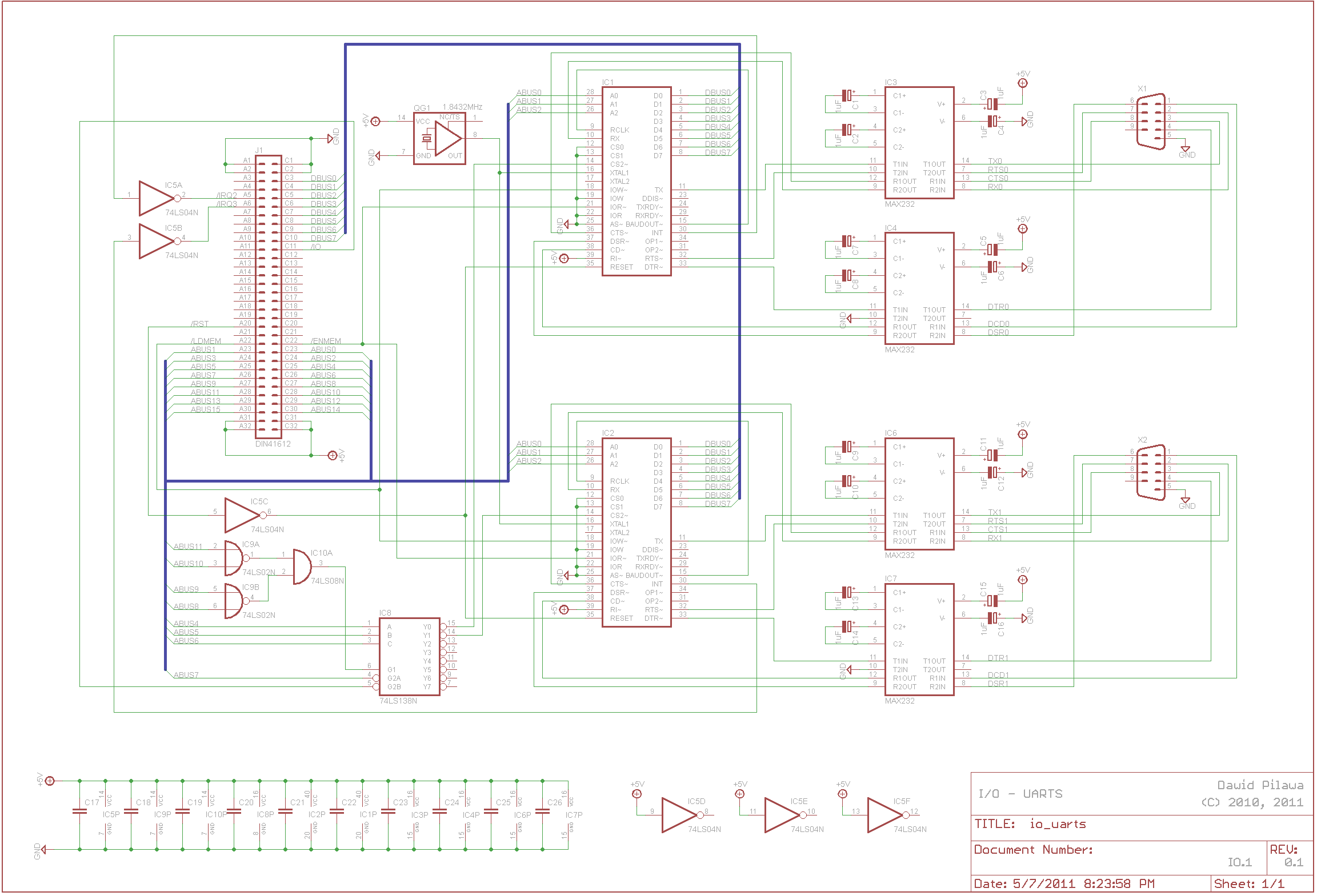 Bytec 16 Uarts Board Draft Schematics Circuit The Provides Two Serial Ports And Connects To Cpu By Means Of A 64 Wire Ribbon Din41612 Connector Like My Memory Card External
